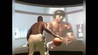 Paul Millsap working on his handles while watching Allen Iverson's footage (2017)