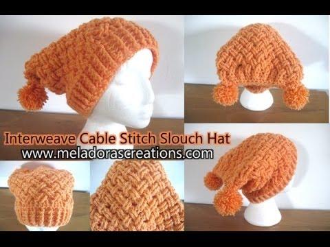 Interweave Cable Celtic Weave Crochet Stitch Slouch Hat Crochet