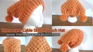Interweave Cable Celtic Weave Crochet Stitch Slouch Hat - Crochet Tutorial