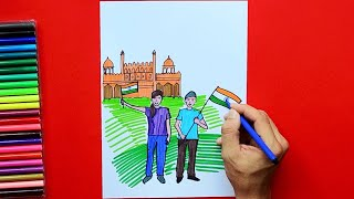 How to draw and color Independence Day celebrations - Red Fort, India