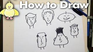 Zeichnen: How To Draw-Einfache Cartoon-Gesichter Schritt für Schritt