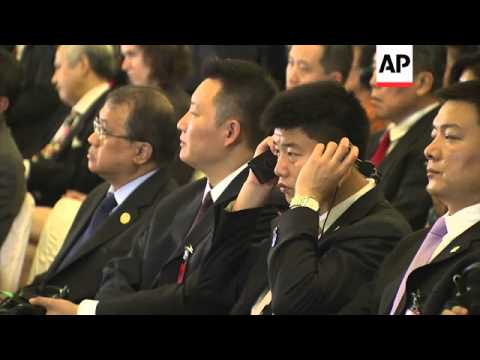Visiting Chinese President Xi Jinping addresses the Indonesian parliament