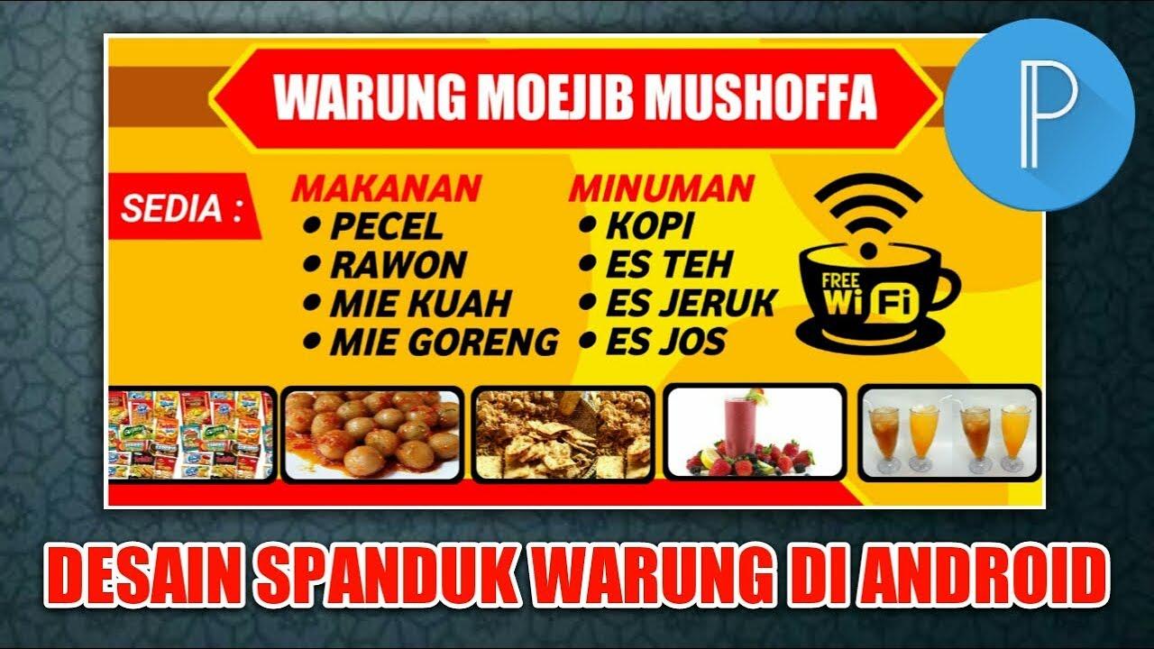 Cara Desain Spanduk Warung Makan di HP aplikasi Pixellab ...