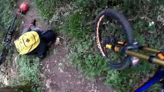 Biker Trips And Falls Off Mountain Bike