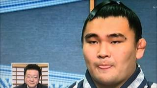 幕下優勝インタビュー 師匠の顔を見て思わずニッコリ 伊勢ヶ濱親方 検索動画 5