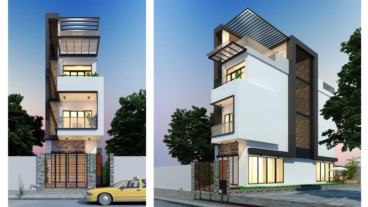 Townhouse plans narrow lot 4 5x17 2m with 4 bedrooms