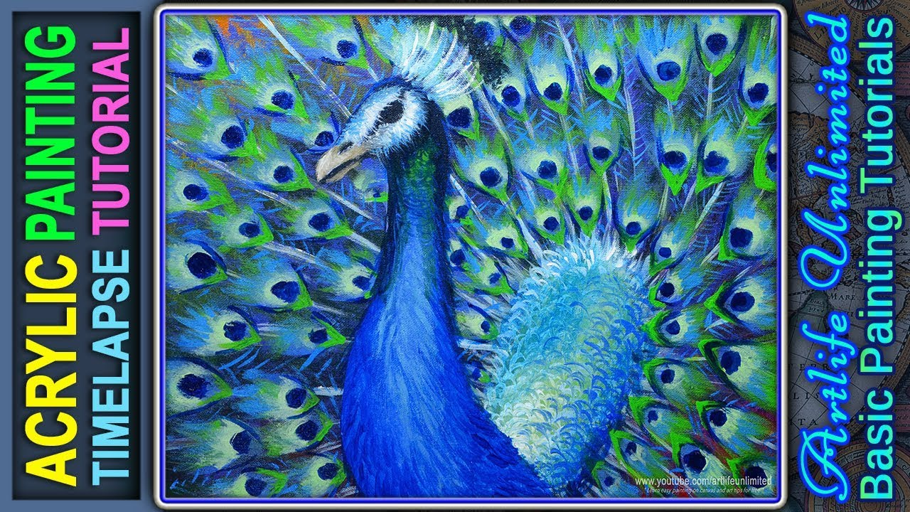 Acrylic Painting Tutorial beautiful peacock bird and awesome colors of  feathers on the tail | Lesson