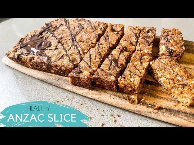 Healthy Chocolate Anzac Slice