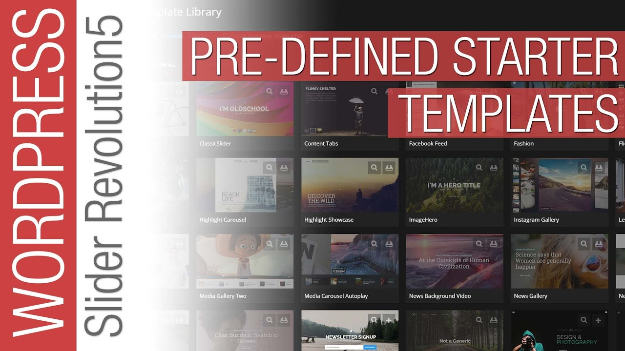 Slider Revolution 5 for Wordpress - Pre-Defined templates - YouTube