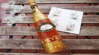 Como reciclar una botella de cristal con cascara de huevo, decoupage y relieve muy facil