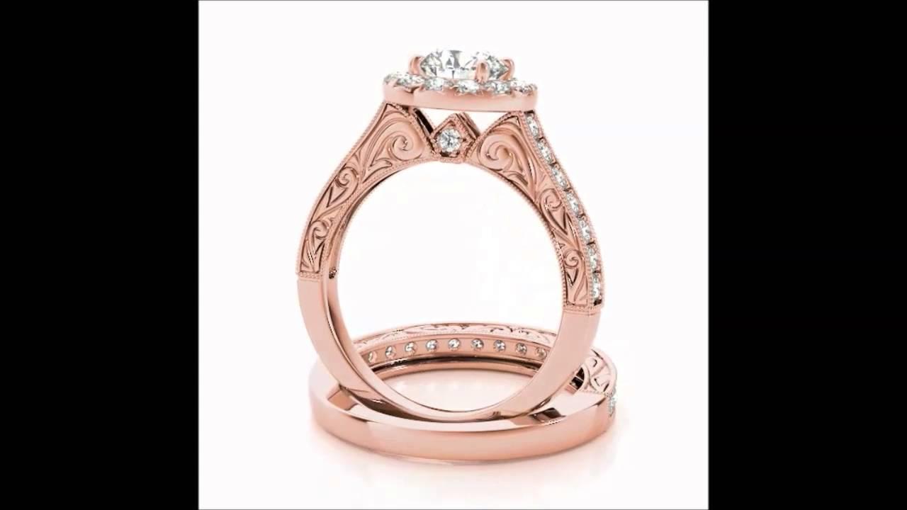 Rose Gold Round Center Halo Engagement Ring #7194