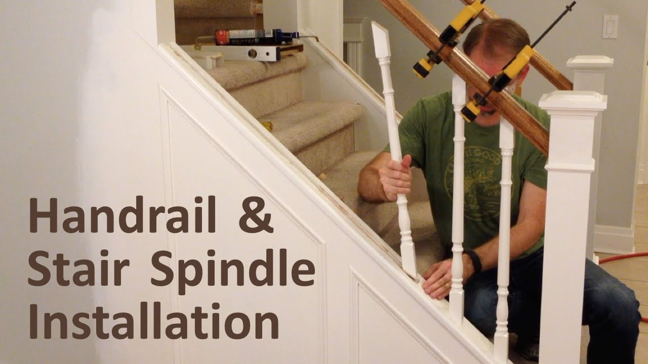 How To Install Handrail And Stair Spindles Staircase Renovation   Stair Rails And Spindles   Dark   Restaining   Modern   Spiral   Glass