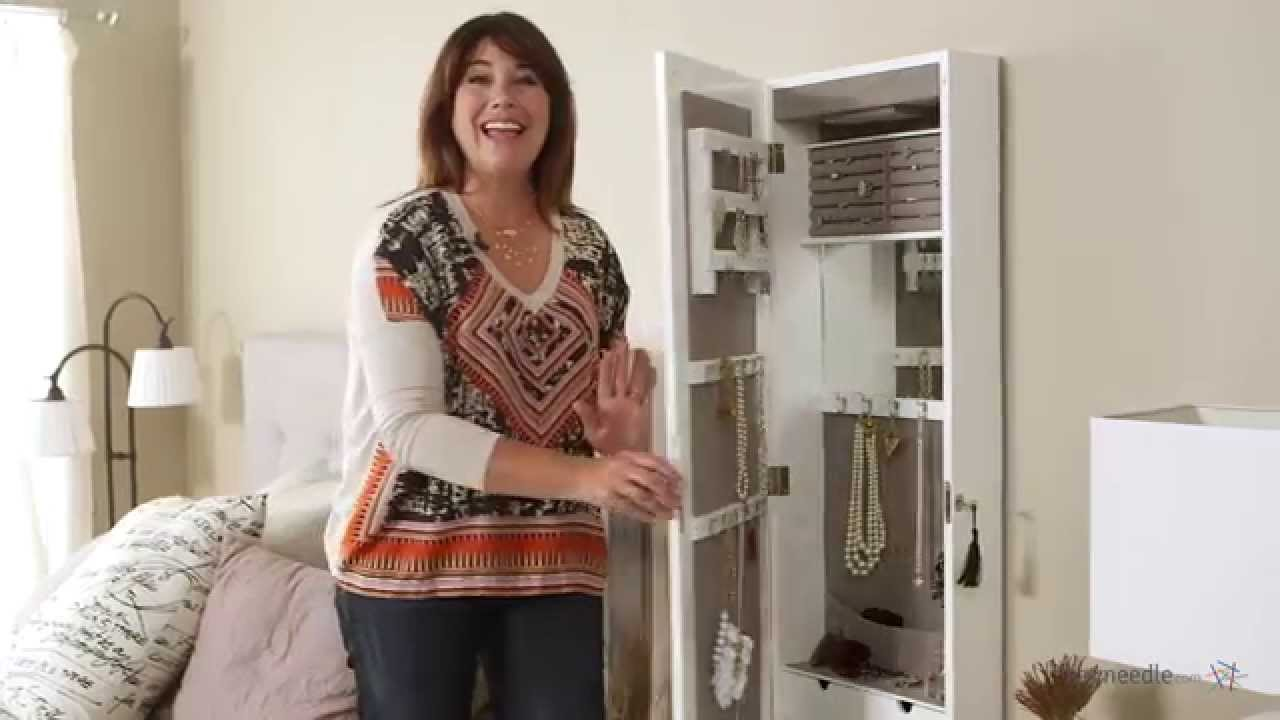 lighted locking quatrefoil wall mount jewelry armoire high gloss white product review video youtube