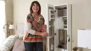 Lighted Locking Quatrefoil Wall Mount Jewelry Armoire - High Gloss White - Product Review Video