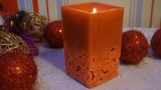 Ажурная свеча своими руками  DIY  Новогодние поделки/Wax candle    Christmas crafts