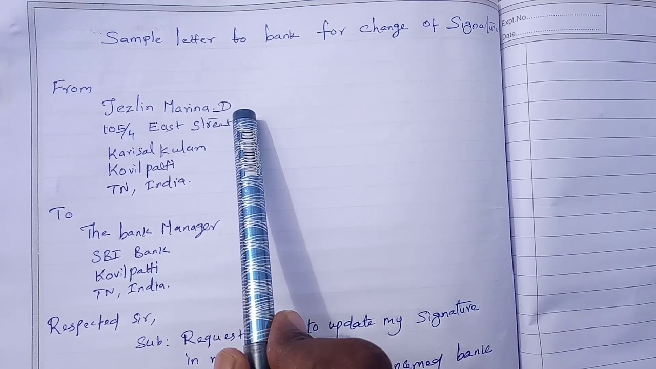 Format Of Sample Letter To Bank For Change Of Signature