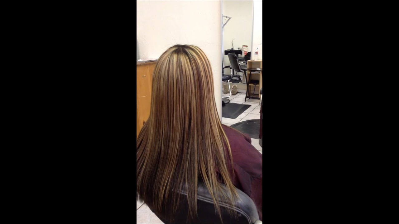 Highlighted Hair Straightening Result