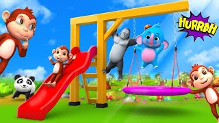 Funny Monkey Trampoline Slider Play Area - Funny Gorilla and Elephant Cartoons   3D Animated Videos
