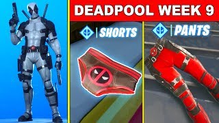 FORTNITE DEADPOOL WEEK 9 CHALLENGES! Find Deadpool's shorts, Salute Deadpool's Pants