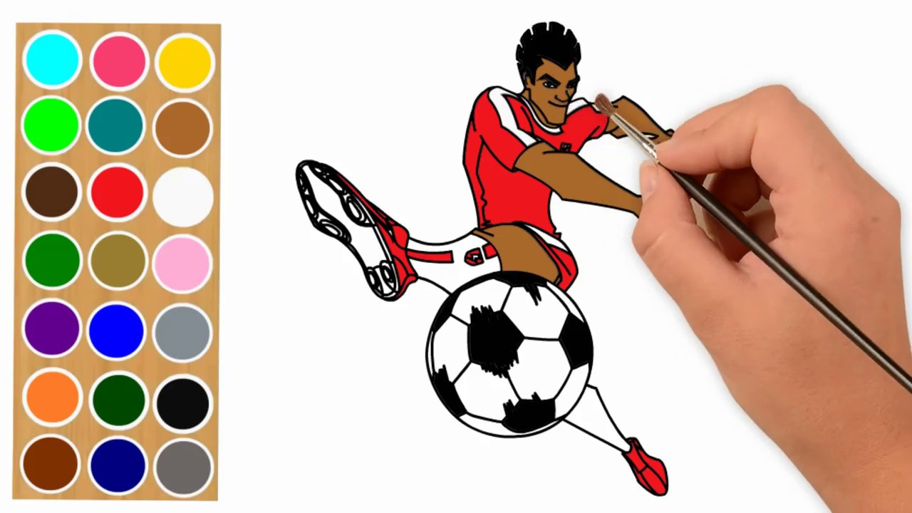 Vector of a Cartoon Tiger Playing Soccer - Coloring Page Outline ... | 720x1280