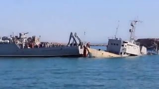 "Ukrainian Minesweeper ""Cherkasy"" Attempts to Free Passage From Donuzlav Lake, Crimea."