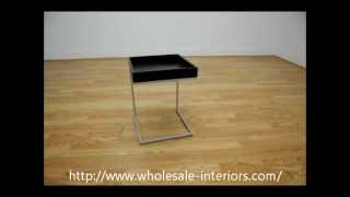 Wholesale Interiors Black Wood Top C Table