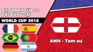 Biệt danh 32 đội bóng tham dự World Cup 2018