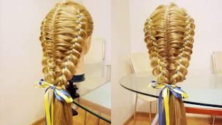 Коса в технике трёх кос с лентами. Видео-урок