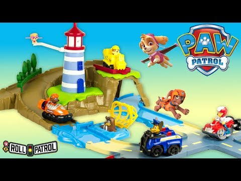 Paw Patrol Roll Patrol Zuma Skye Lighthouse Rescue Trackset Toy Review Juguetes Patrulla de Canina