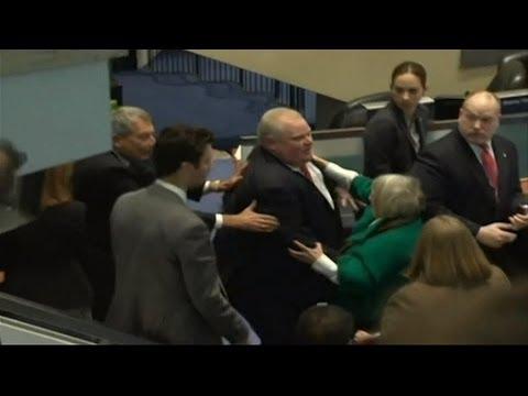Toronto Mayor Rob Ford Knocks Over Councillor