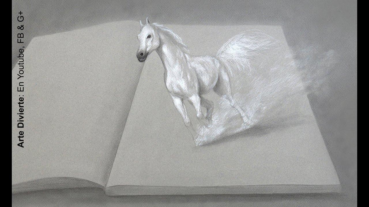 Dibujando En 3d Caballo Blanco Imaginaci - Arte Divierte