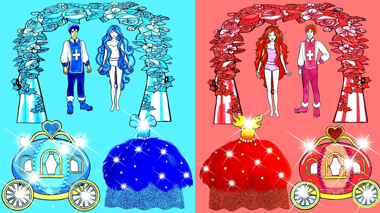 Download Paper Dolls Dress Up - Costumes Hot and Cold Dresses Handmade Quiet Book - Barbie Story & Crafts