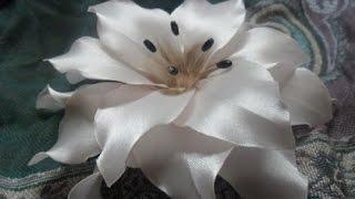 Цветы из атласной ленты  своими руками  Пошаговое фото(По своей красоте цветы из атласной ленты может сравниться разве что только с настоящим цветком. А заколка..., 2016-01-13T11:14:28.000Z)
