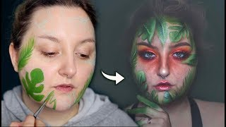 LEAFY GLAM CREATIVE MAKEUP TRANSFORMATION