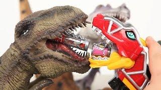 공룡 티라노사우루스와 파워레인저 다이노포스 티라노킹 대결 더블 다이노셀 파워레인저다이노포스 디노몰 공룡 장난감 동영상