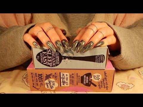SCRATCHING & STROKING CARDBOARD BOXES / PLASTIC MATERIAL NO-TALKING ASMR || LONG BLACK HOLO NAILS