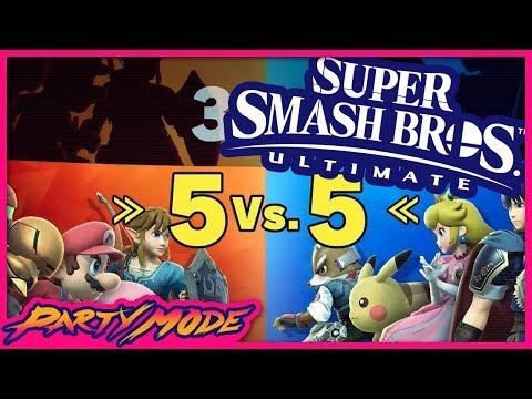 5v5 Squad Strike in SUPER SMASH BROS ULTIMATE! - Party Mode thumbnail