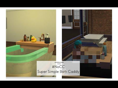 Sims 4 Snowy Escape build: CC free bath caddy [tub is usable]