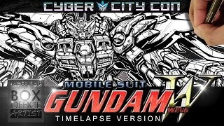 DRAWING GUNDAM WING ZERO EW - TIMELAPSE VERSION - CYBER CITY CON EDITION