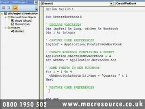 Microsoft Excel 2007 VBA training courses and free online tutorials