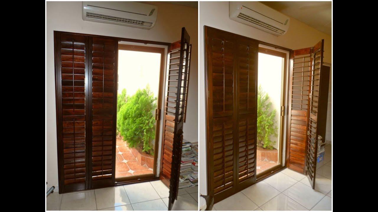Shutters de madera para puerta jardin youtube for Como hacer una puerta de madera para exterior