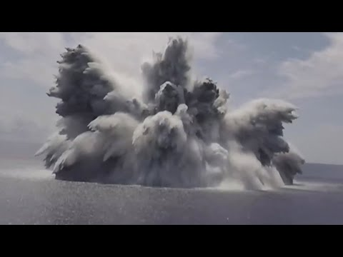 US Navy tests combat capabilities of new aircraft carrier   Watch 40,000-lb explosive explode