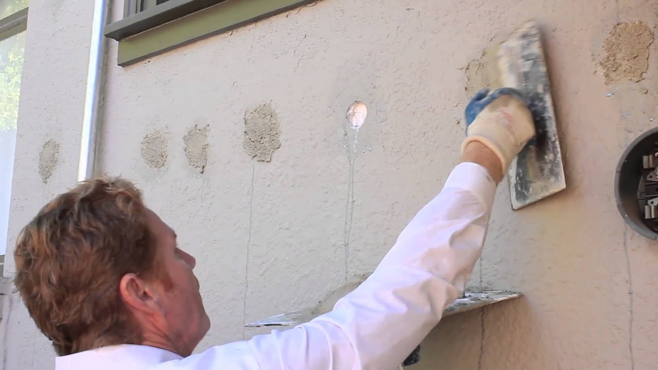 How to stucco/repair exterior insulation holes in stucco walls - YouTube