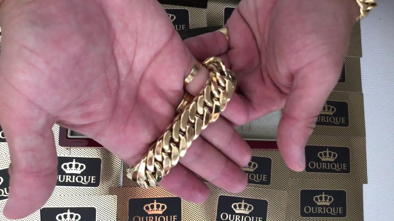22553be09cd Pulseira de Ouro 18k 750 Masculina Grossa Modelo Grumet Duplo Luxo ...