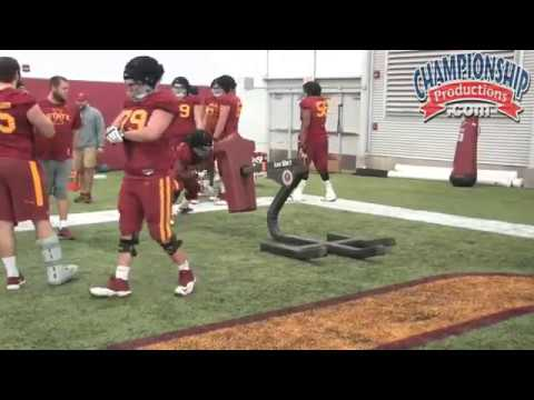 Offensive Line Form Blocking with Sled Drill Featuring Iowa State's Tom Manning!