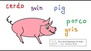 How to draw a pink pig for children with Nursery rhymes