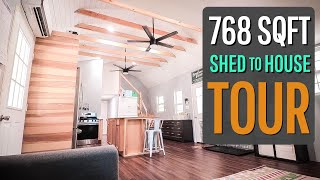 16x48 Shed To House Tour {with Two Lofts}