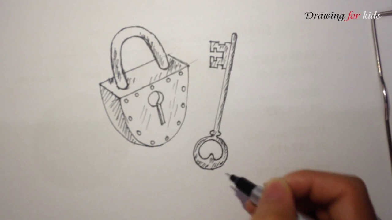 lock and key drawing. Plain And How To Draw Lock And Key Simply Easily Quickly  Ancient Roman U0026  In And Drawing R