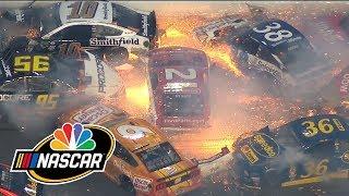 Crazy Daytona 500 wreck knocks out half the field | NASCAR | Motorsports on NBC
