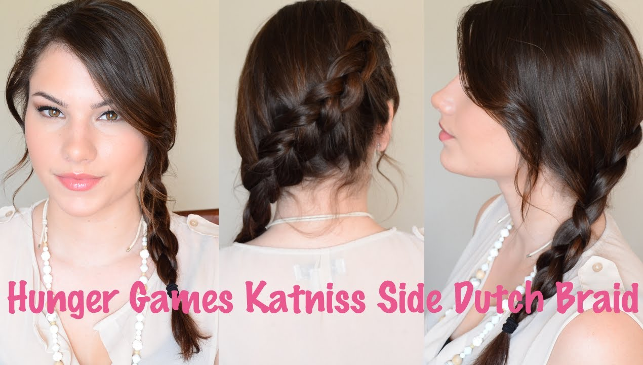 Hunger Games Katniss Side Dutch Braid Hair Tutorial - YouTube